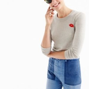 J. Crew Tippi Gray Red LiP Embroidered Sweater SzS